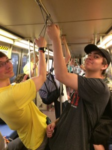 Jonathan and Harrison enjoy a ride on the Metro.